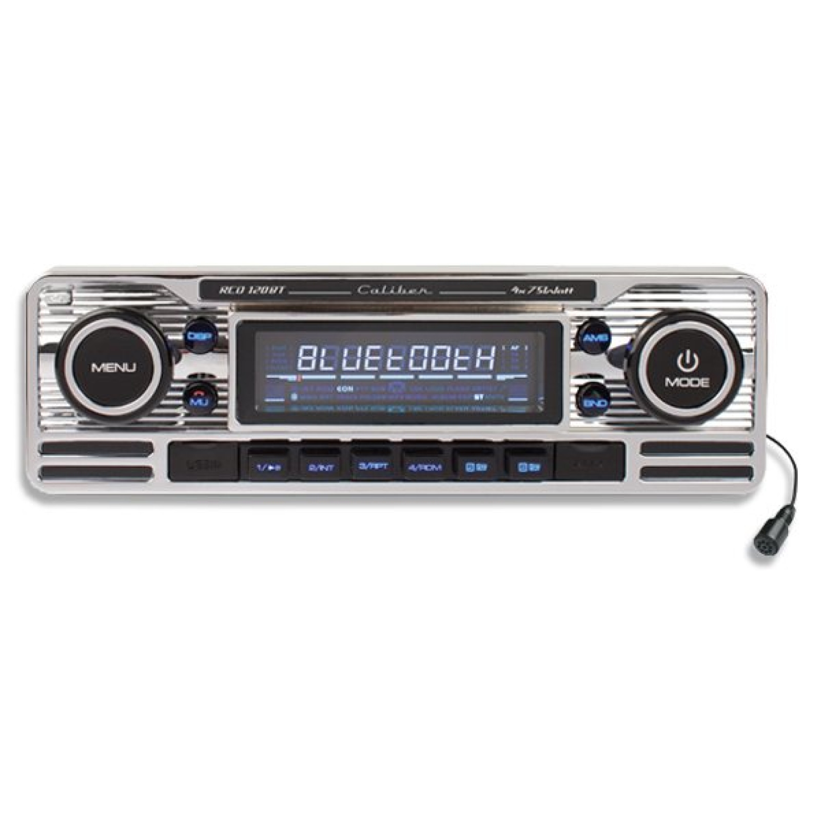 caliber cd120bt classic retro style single din radio cd mp3 usb player stereo head unit silver. Black Bedroom Furniture Sets. Home Design Ideas