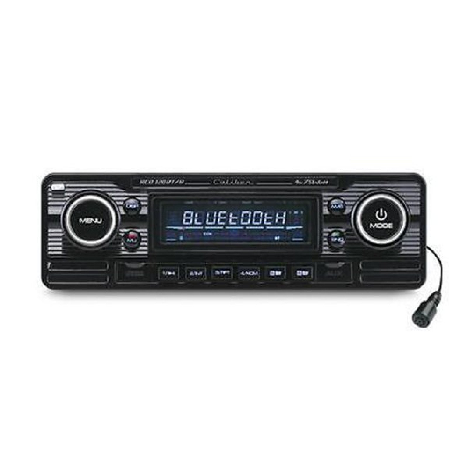 caliber cd120bt classic retro style single din radio cd mp3 usb player stereo head unit black. Black Bedroom Furniture Sets. Home Design Ideas