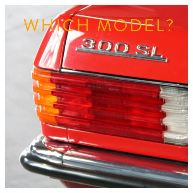 Close-up of a red Mercedes-Benz 300 SL rear badge