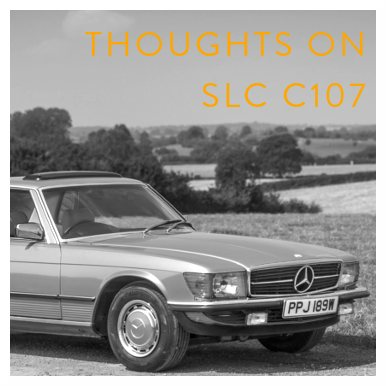 Mercedes-Benz C107 SLC parked in the countryside