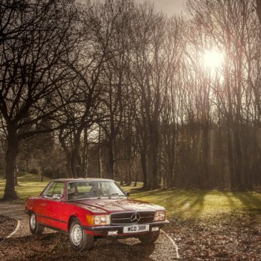 A red SL Shop Mercedes-Benz R107 SL parked in a woodland area