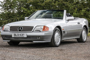 A silver early 500 SL with the V8 power plant.