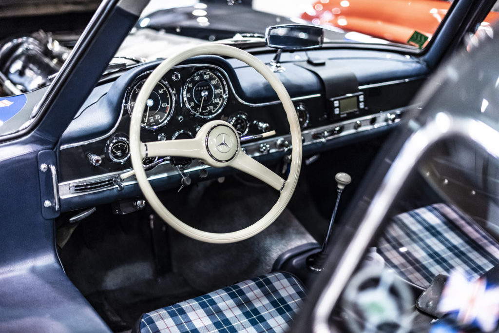 Interior shot of the 417 300SL Gullwing driven by Kyle Fortune