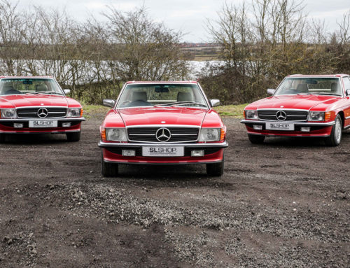 A post 86 Signal Red Full House – 300SL, 420SL, 500SL and 560SL all in stock