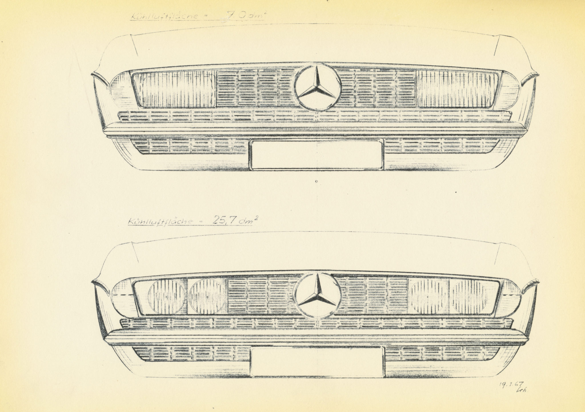 Original drawings of the R107 grille.