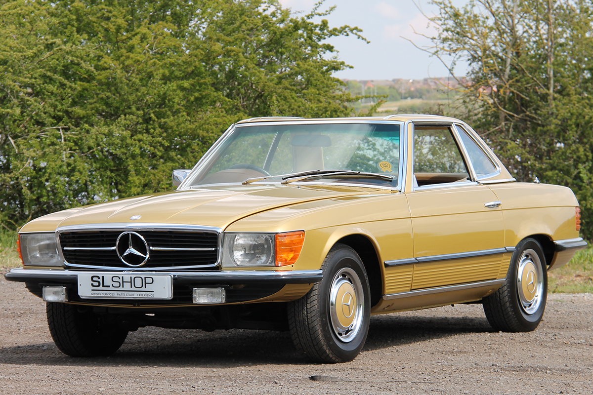 Front three quarters of the 350 SL supplied to Classic and Sports Car