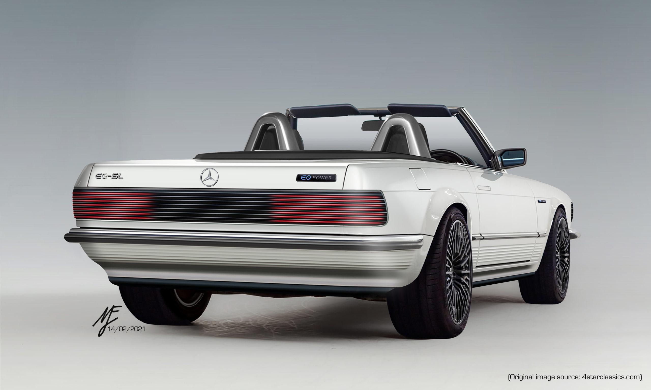The rear profile of a restomod EQ-SL by Matthew Finbow