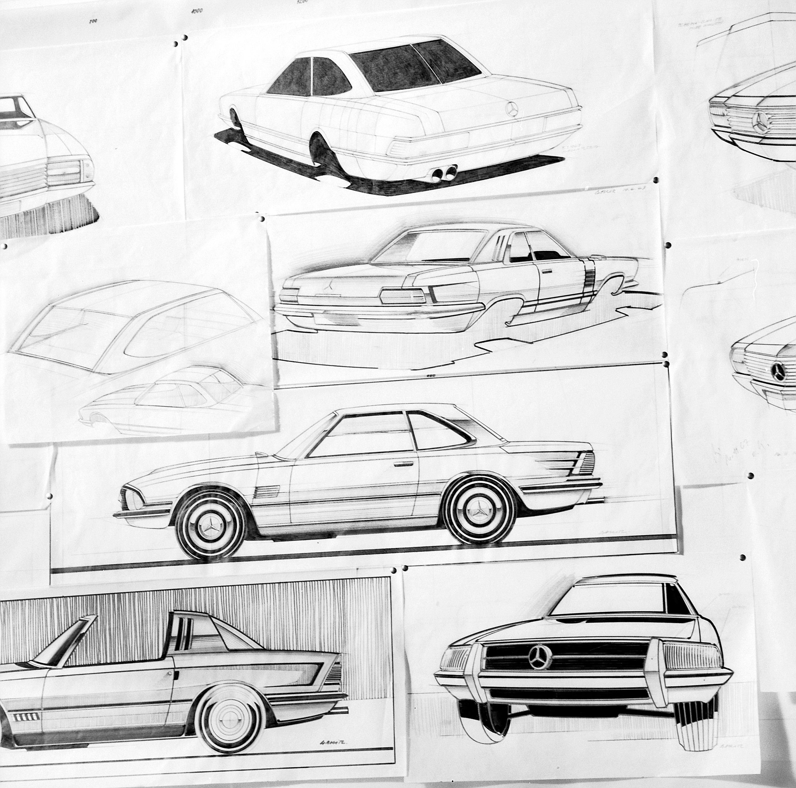 Conceptual sketches from the R107 design department that were not realised, but details of which echo actual styling features.