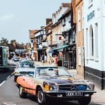 SLSHOP's Art Car driving through Stratford-Upon Avon.