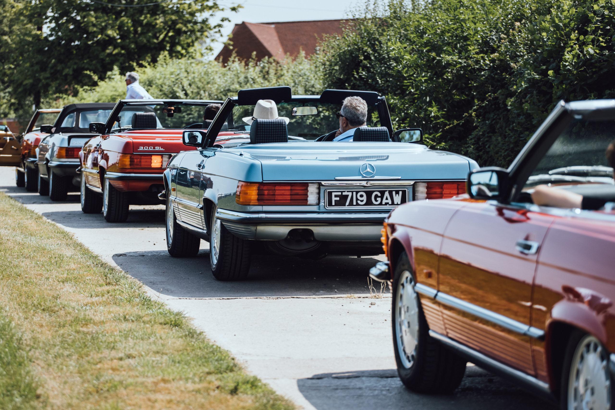 A convoy of Mercedes Convertibles at SLSHOP's 50th Anniversary event.
