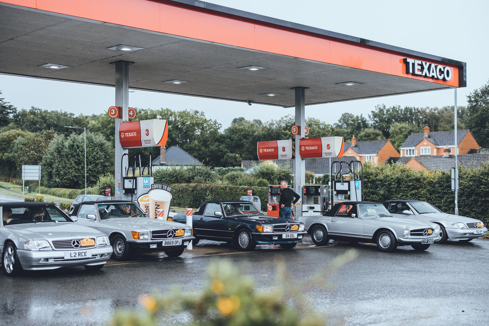 Wales Tour Convoy at Texaco Petrol Station Leominster