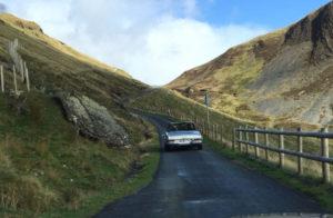 Pagoda driving through mid-Wales
